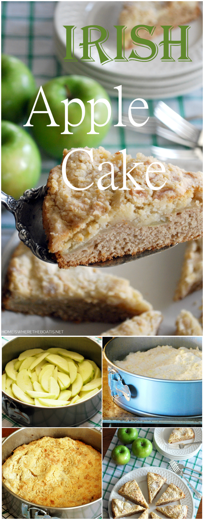 Irish Apple Cake for St. Patrick's Day | ©homeiswheretheboatis.net #StPatricksDay #recipe #cake #dessert #apple #irish