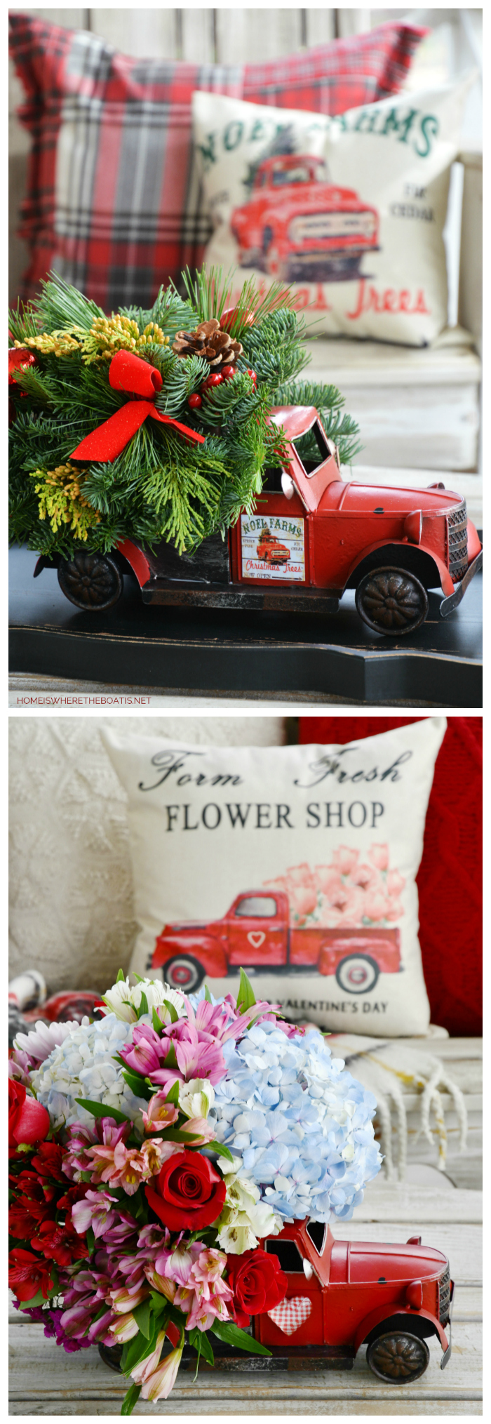 Red Truck Flower Arrangement makeover from Christmas to Valentine's Day | ©homeiswheretheboatis.net #flowers #valentinesday