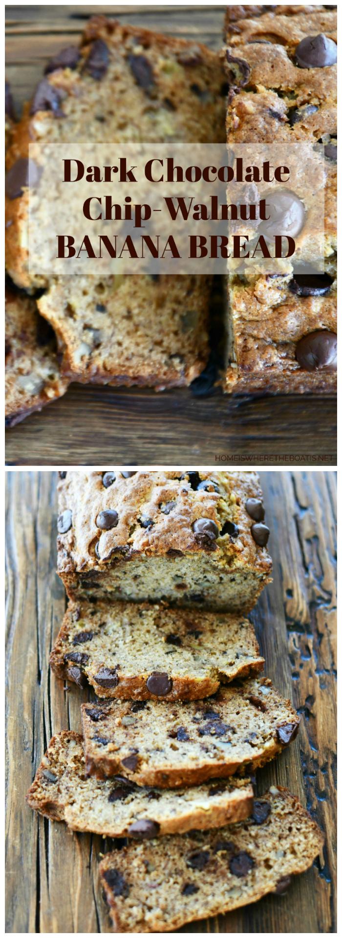 Dark Chocolate Chip-Walnut Banana Bread   ©homeiswheretheboatis.net #quickbread #recipes #banana #chocolate