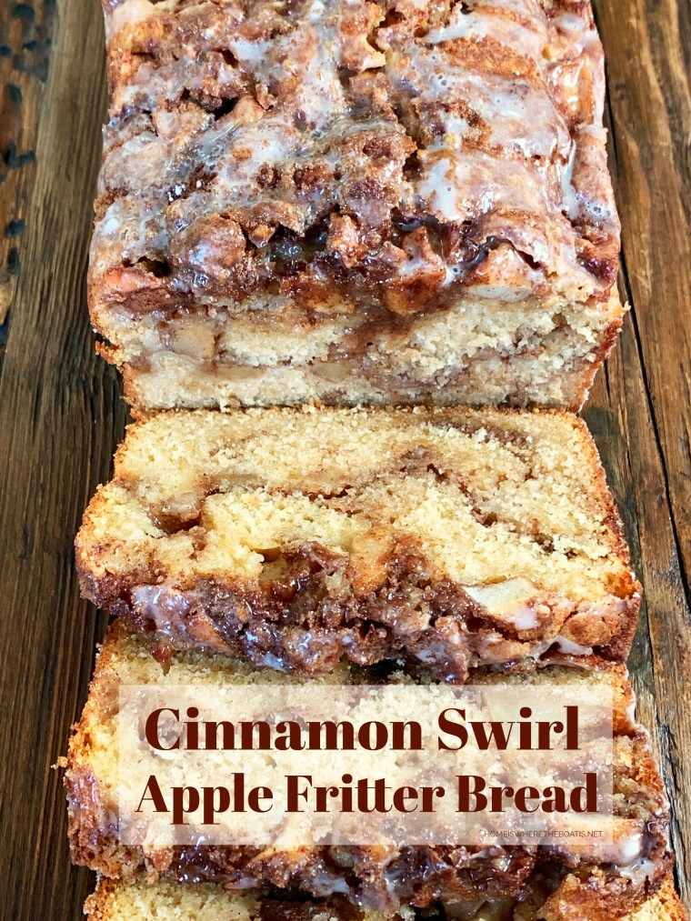 Cinnamon Swirl Apple Fritter Bread | ©homeiswheretheboatis.net #apple #bread #cake #recipes