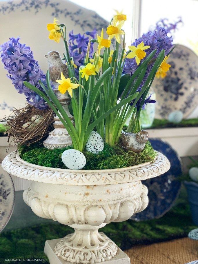 Garden urn with Spring Bulbs and Blooms in the Potting Shed | ©homeiswheretheboatis.net #flowers