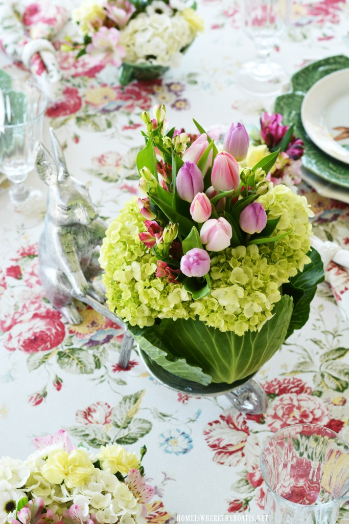 Bunny and blooming cabbage arrangement DIY with tulips centerpiece for table | ©homeiswheretheboatis.net
