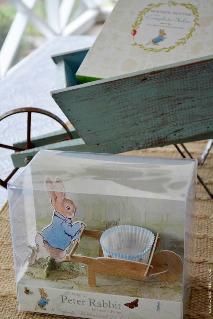 Peter Rabbit Wheelbarrow Cupcake Holders | ©homeiswheretheboatis.net #muffin #carrot #zucchini #recipes