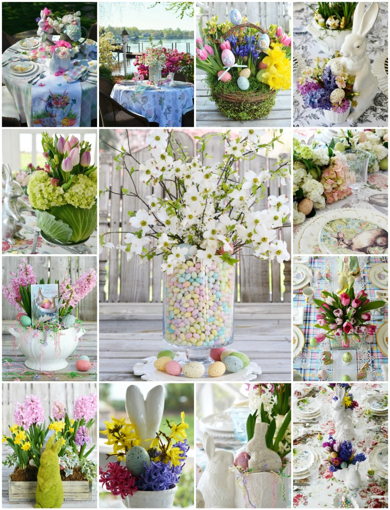 Easter centerpieces and table inspiration | ©homeiswheretheboatis.net #tablescapes #flowers #Easter #spring