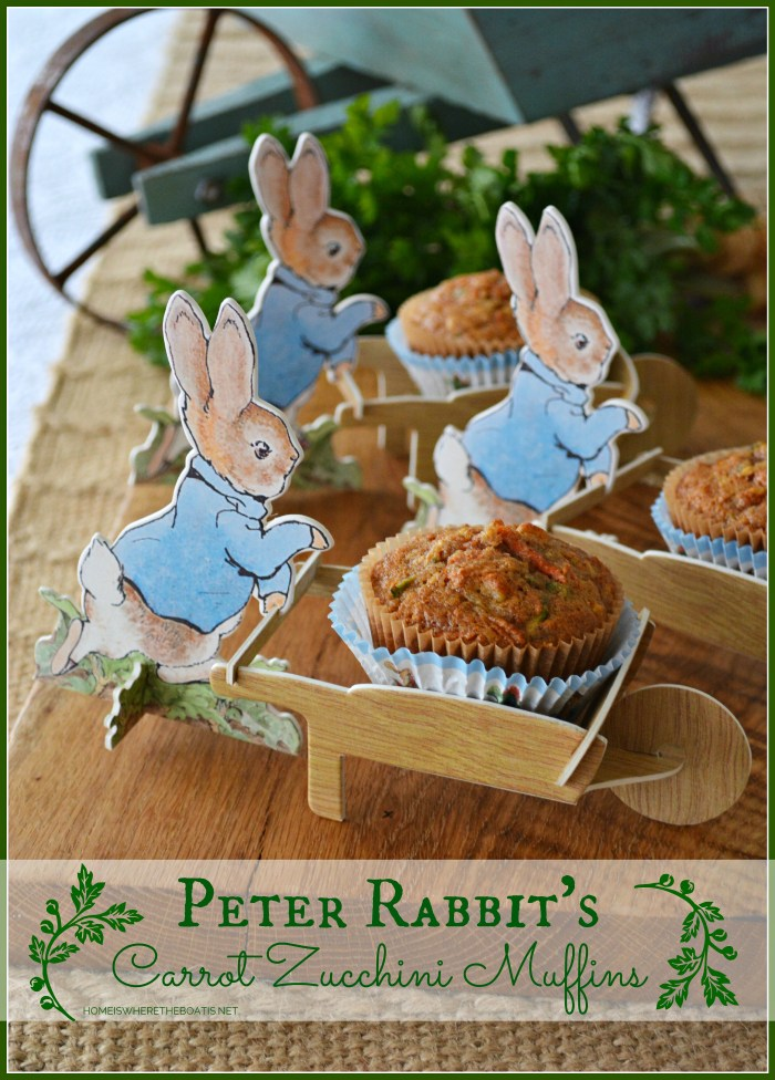 Peter Rabbit's Carrot-Zucchini Muffins | ©homeiswheretheboatis.net #muffin #carrot #zucchini #recipes