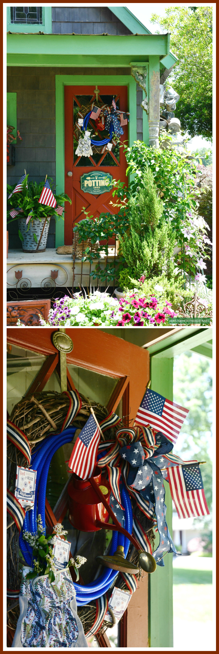 Patriotic Wreath using a garden hose for the Potting Shed | ©homeiswheretheboatis.net #patriotic #wreath #DIY #flag