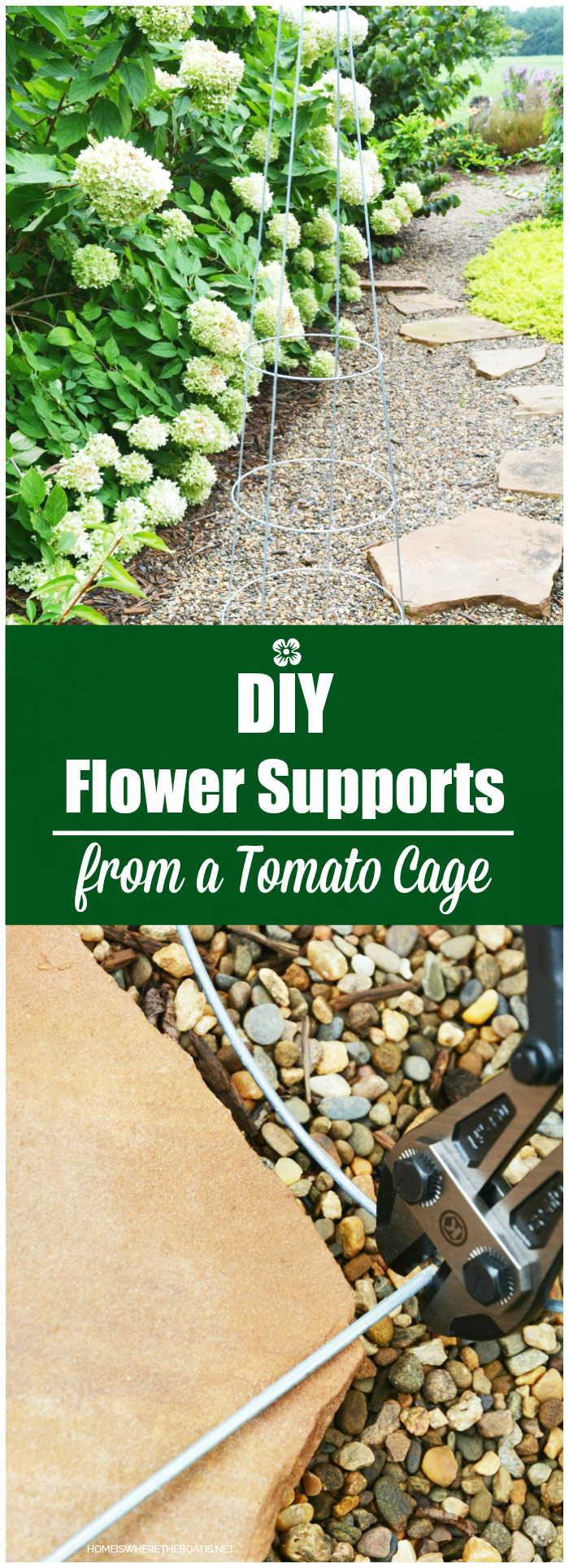 DIY Flower Supports from a Tomato Cage | ©homeiswheretheboatis.net #flowers #garden #DIY #tomatocage #hack
