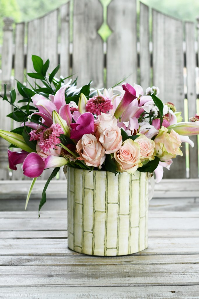 Flower arrangement with market box of flowers and foliage from garden | ©homeiswheretheboatis.net