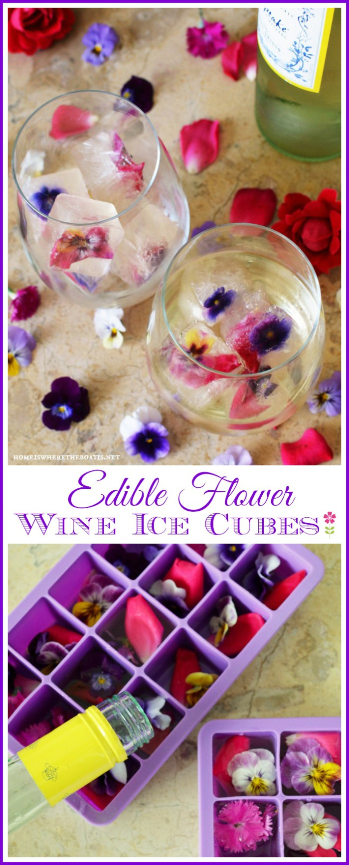 Keep your wine chilled and festive with Frozen Wine Cubes with Edible Flowers | ©homeiswheretheboatis.net #edibleflowers