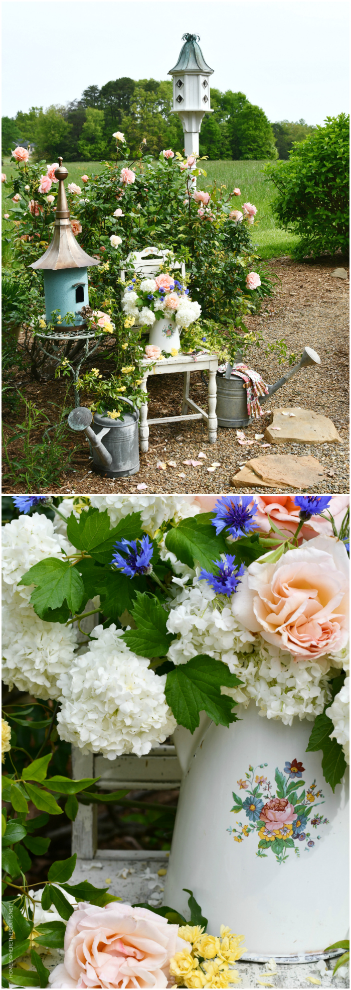 Birdhouse, watering cans and pitcher with garden flowers | ©homeiswheretheboatis.net #garden #flowers #spring #arrangement #roses