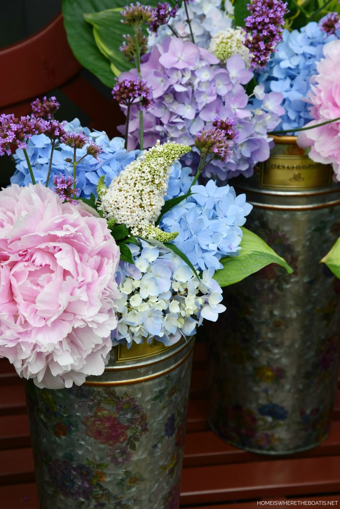 MacKenzie-Childs Flower Market Buckets of garden blooms by the Potting Shed | ©homeiswheretheboatis.net #flowers #garden #peony #hydrangeas