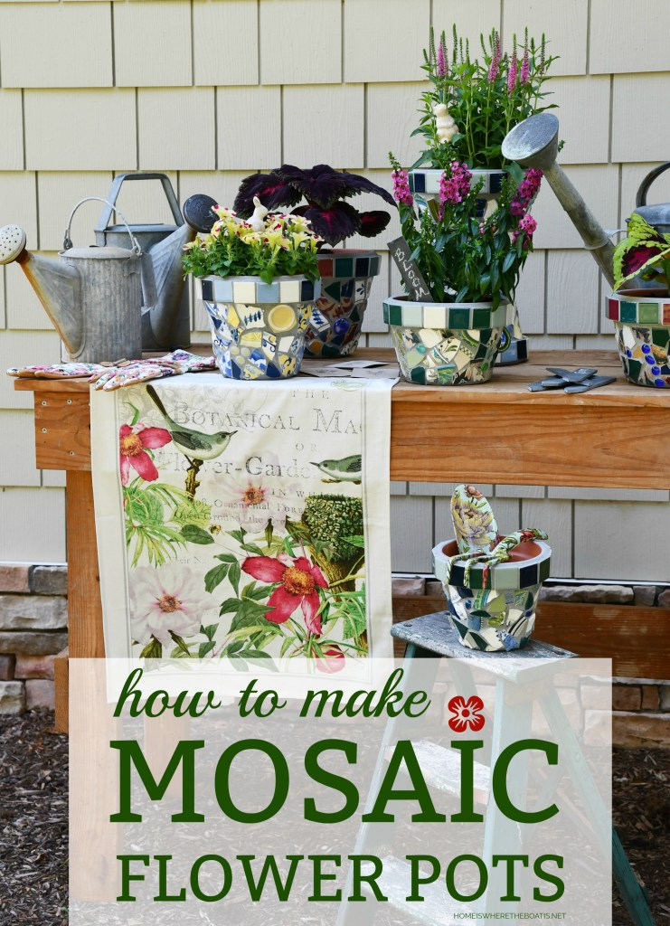 DIY Mosaic Flower Pots! A fun DIY and way to upcycle your broken dishes or thrift store finds with a trash-to-treasure craft and create one-of-a-kind flower pots for your garden or for gifts | ©homeiswheretheboatis.net #garden #flowers #DIY