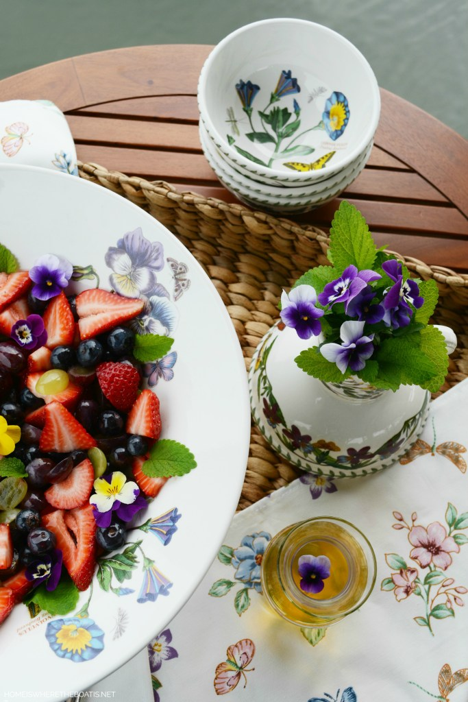 Berrylicious Fruit Salad with Orange-Vanilla Syrup | ©homeiswheretheboatis.net #spring #fruit #salad #recipes #portmeirion