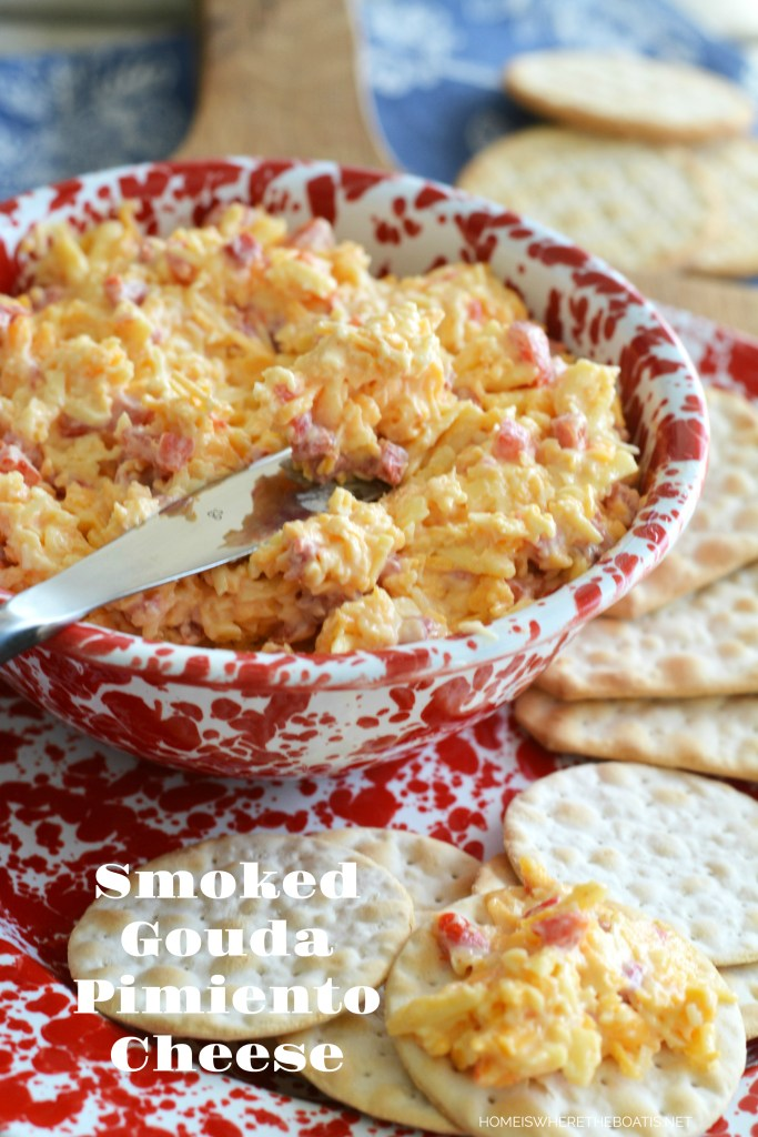 Smoked Gouda Pimiento Cheese | ©homeiswheretheboatis.net #easy #recipe #appetizer