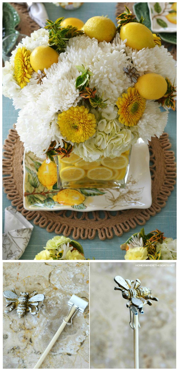 DIY Floral Arrangement and Table with Lemons and Bees | ©homeiswheretheboatis.net #flowers