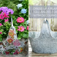 Dress Up a Galvanized Tub with Decoupage
