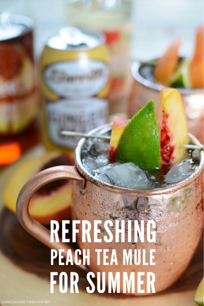 Celebrate summer with a Peach Tea Mule, a summery twist on the classic Moscow Mule, and refreshing cocktail that marries the flavor of sweet tea and peaches! | ©homeiswheretheboatis.net #summer #cocktail #peaches