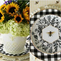 Bees, Sunflowers and Hydrangeas Arrangement +Tablescape
