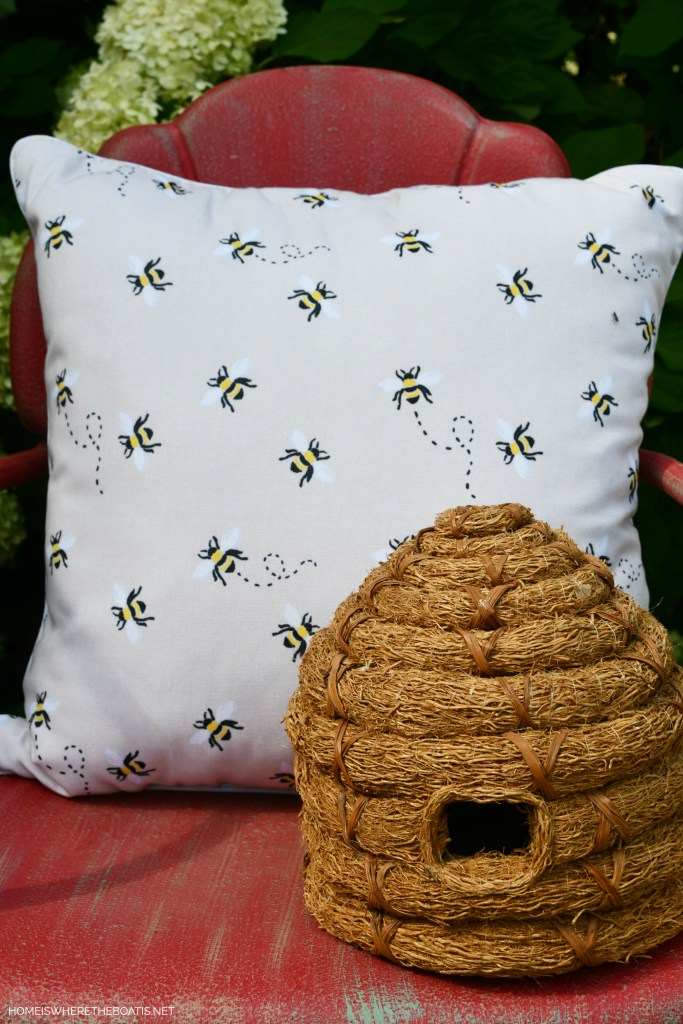 Bee pillow and bee skep by Potting Shed | ©homeiswheretheboatis.net #bees