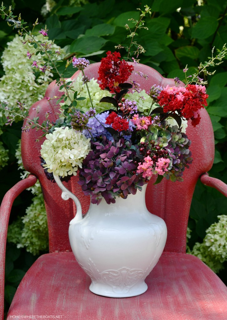 Garden bouquet in ironstone pitcher with hydrangeas | ©homeiswheretheboatis.net #flowers #garden #hydrangeas