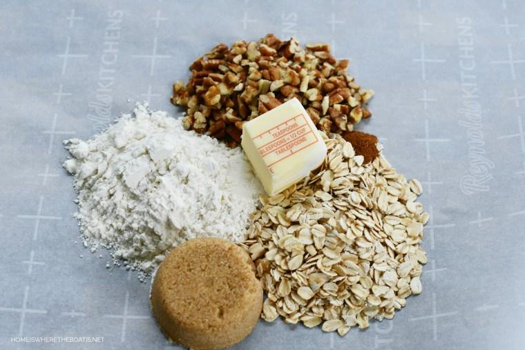 Crumble ingredients for tart   ©homeiswheretheboatis.net #peaches #recipes #tart #easy #summer #dessert