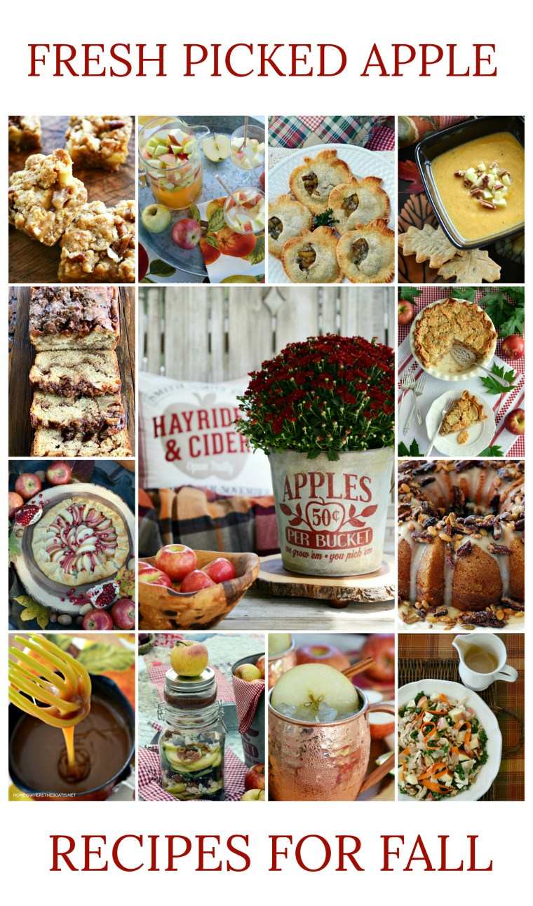 Fresh Picked Apple Recipes for Fall | ©homeiswheretheboatis.net #apple #recipes #fall #desserts #salads #soup #cocktails