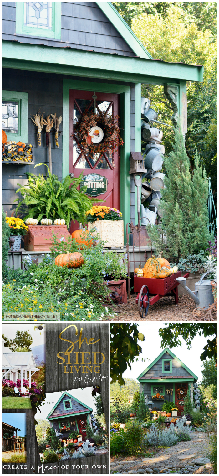 Potting Shed in She Shed Living 2021 Calendar Turner Licensing | ©homeiswheretheboatis.net #fall #shed