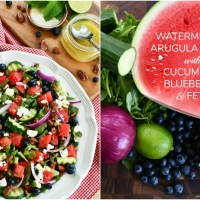 Watermelon - Arugula Salad with Cucumber, Blueberry & Feta