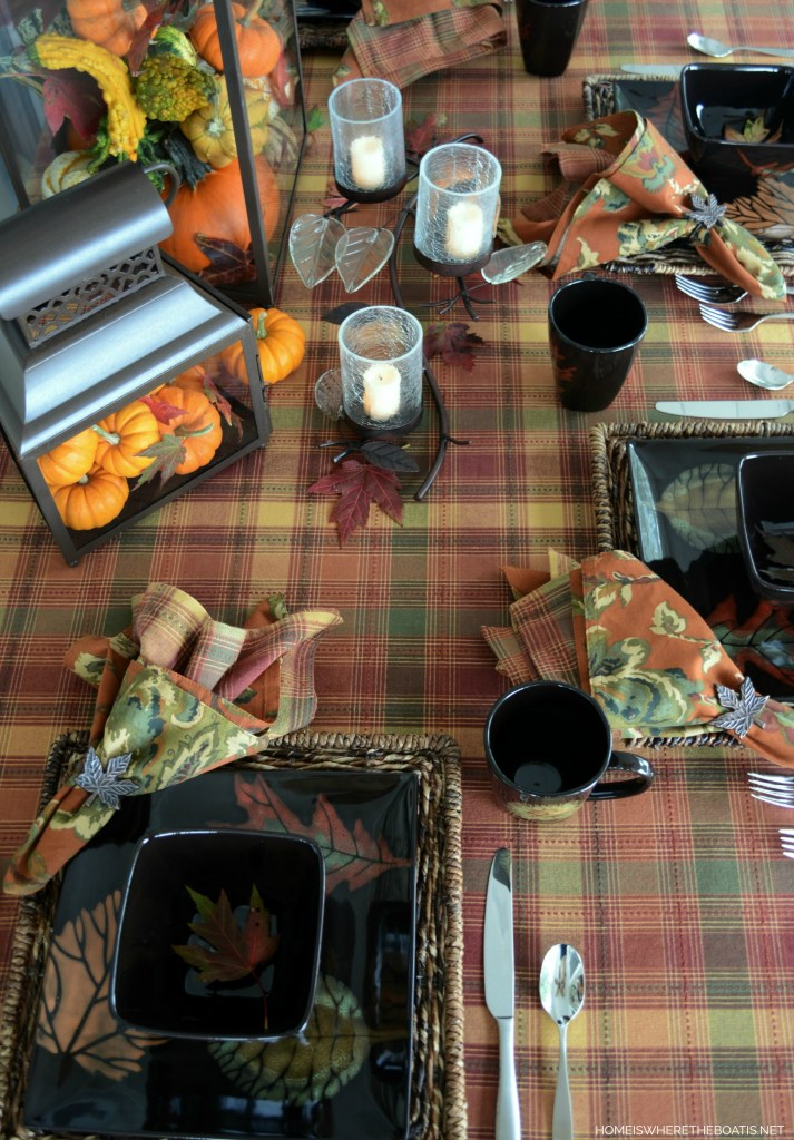 Pumpkins, Leaves and Mikasa Autumn Nights table| ©homeiswheretheboatis.net #fall #tablescapes