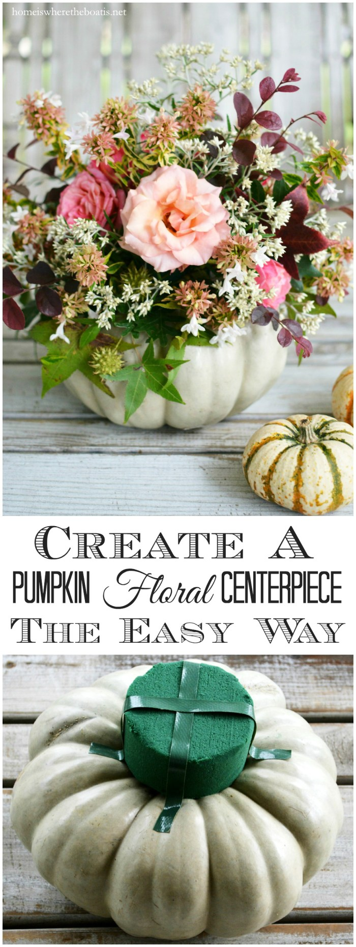 Create a Pumpkin Floral Centerpiece the easy way, no carving required! | ©homeiswheretheboatis.net