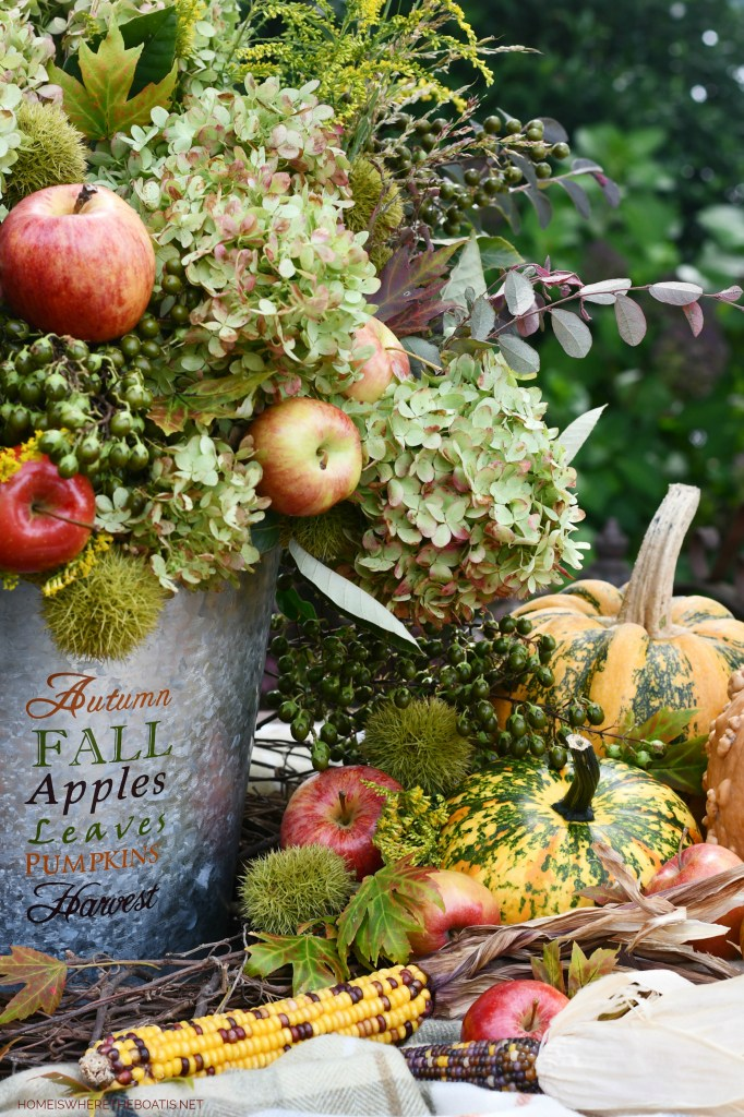 Foraged Autumn Harvest Arrangement | ©homeiswheretheboatis.net #fall #hydrangeas #apples #pumpkins #centerpiece