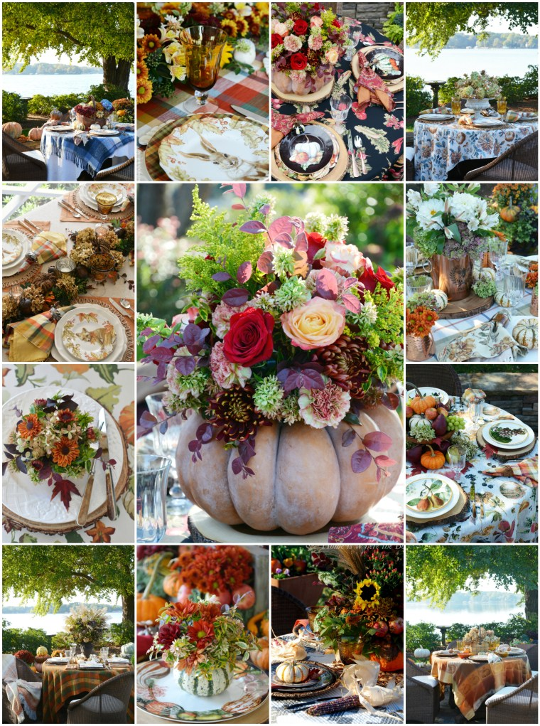 A Harvest of Fall Tablescapes | ©homeiswheretheboatis.net #fall #tablescapes #autumn #pumpkins #alfreso #lake