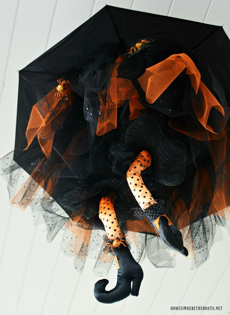 DIY Floating Umbrella Witch for Halloween | ©homeiswheretheboatis.net #Halloween #witch #DIY