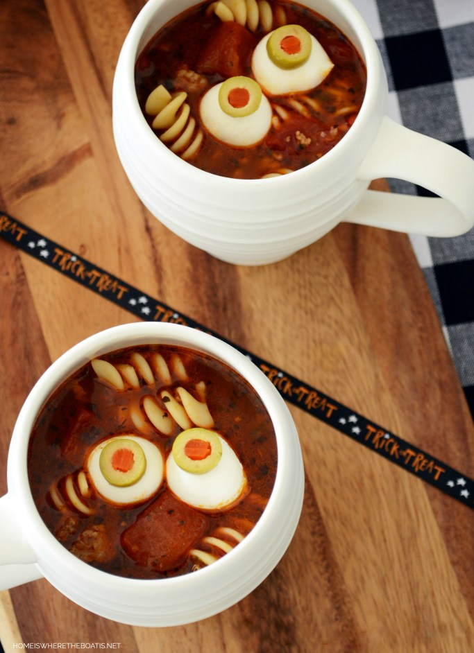 Spooky Lasagna Soup | ©homeiswheretheboatis.net #soup #halloween #recipes