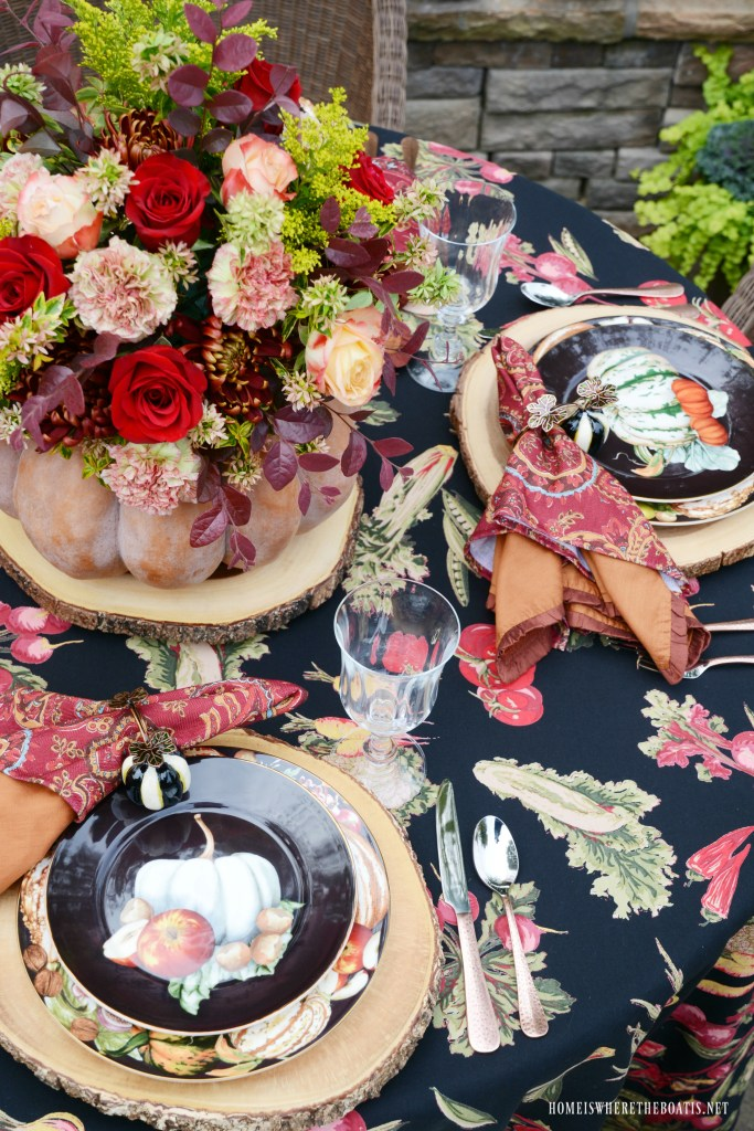 Autumn Table + DIY Blooming Pumpkin the EASY Way | ©homeiswheretheboatis.net #fall #tablescapes #pumpkin