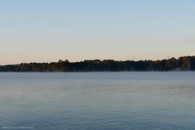 Steam fog Lake Norman | ©homeiswheretheboatis.net #LKN #lake #fall