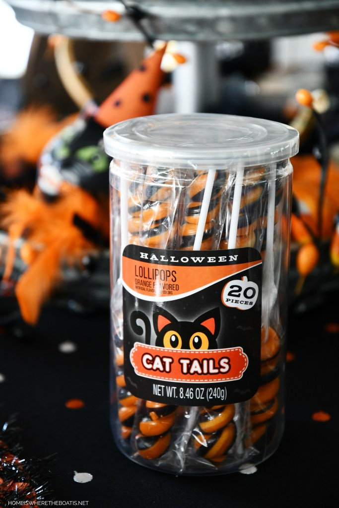 Cat Tails and Halloween Tablescape | ©homeiswheretheboatis.net #halloween #tablescapes
