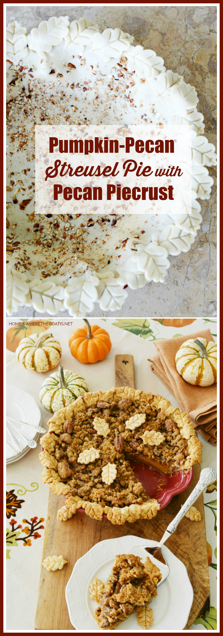 Pumpkin-Pecan Streusel Pie with pecan-studded piecrust! | ©homeiswheretheboatis.net #pie #pumpkin #Thanksgiving #dessert