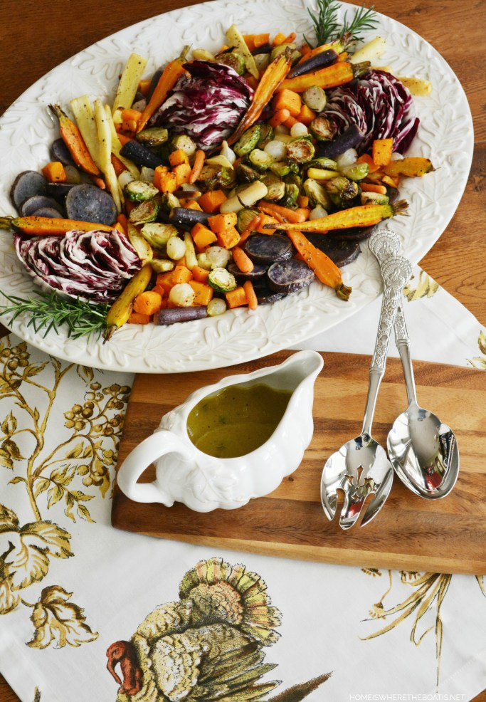 Roasted Harvest Vegetable Salad with Apple Cider Vinaigrette, a healthy and colorful addition to your Thanksgiving feast! | homeiswheretheboatis.net #Thanksgiving #side #healthy #recipe