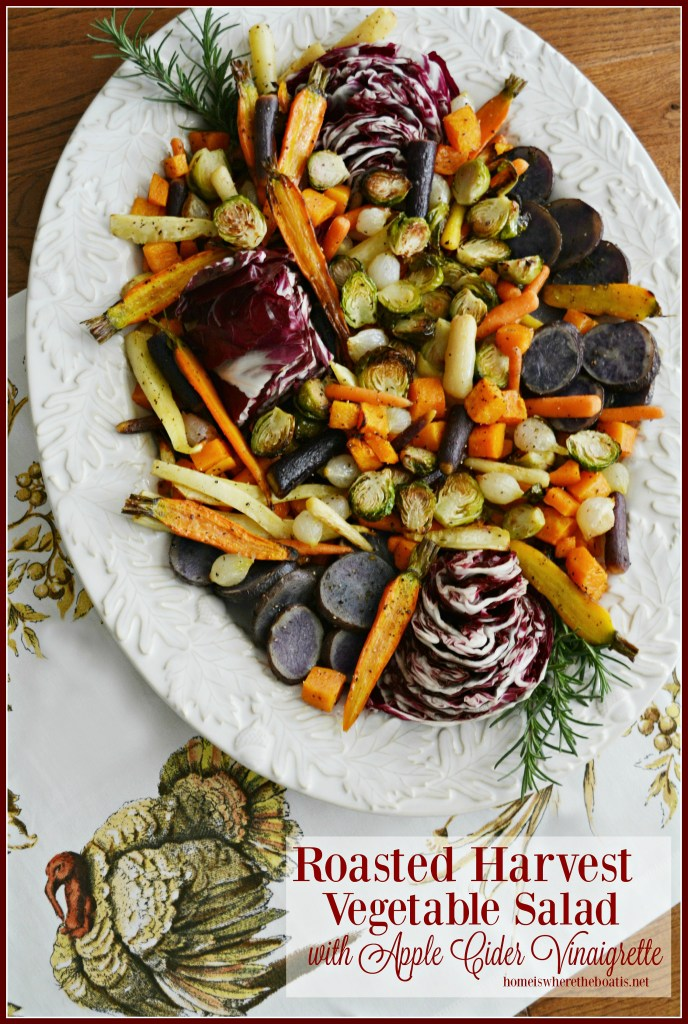 Roasted Harvest Vegetable Salad with Apple Cider Vinaigrette, a healthy and colorful addition to your Thanksgiving feast! | ©homeiswheretheboatis.net #healthy #sidedish #veggies #Thanksgiving