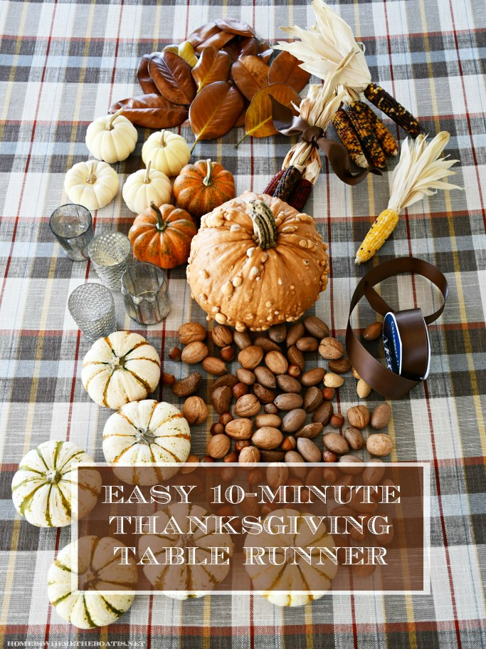 Easy 10-Minute harvest runner for Thanksgiving | ©homeiswheretheboatis.net #thanksgiving #tablescapes #DIY