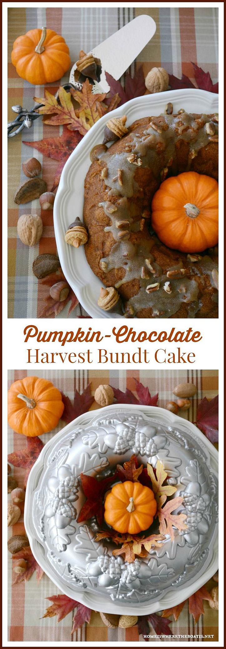Pumpkin-Chocolate Harvest Cake with Bourbon-Pecan Glaze | ©homeiswheretheboatis.net #cake #bundt #pumpkin #bourbon #chocolate