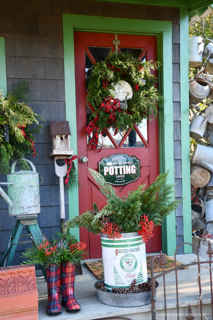 Christmas Around the Potting Shed | ©homeiswheretheboatis.net #shed #christmas #garden #greenery