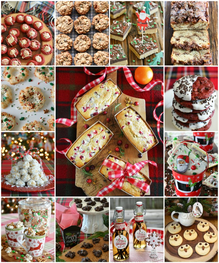 20+ recipes for baking or gifting to make your holidays extra sweet! Additionally you'll find easy, no-bake treats for bars, snack mix and cocoa mix too! | ©homeiswheretheboatis.net #christmas #recipes #nobake #easy #bars #redvelvet #cookies