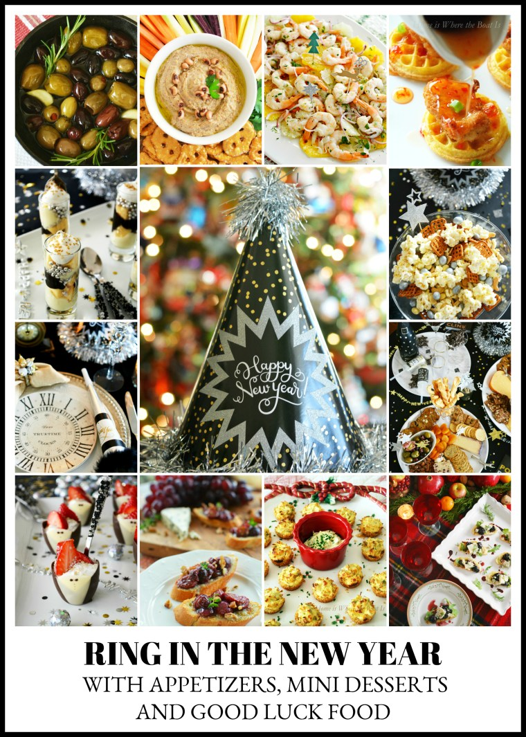 Ring in the New Year Party Inspiration with Appetizers and Mini Desserts and Good Luck Food | ©homeiswheretheboatis.net #newyear #recipes #party #appetizers #desserts #goodluck #food #newyearseve #tablescapes