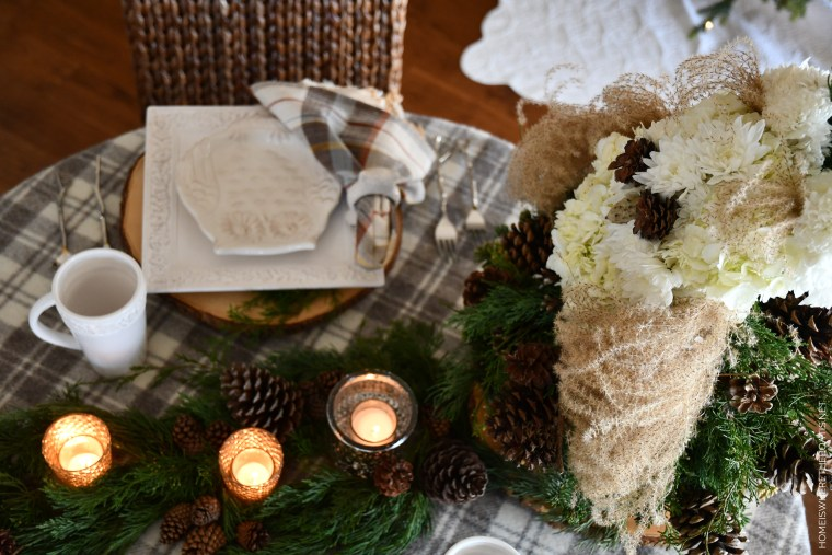 DIY Winter Hoot Flower Centerpiece and Table | ©homeiswheretheboatis.net #tablescapes #winter #owl #DIY