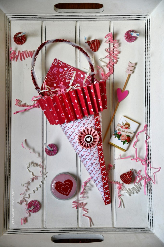 DIY Valentine Candy Cones using scrapbook paper | ©homeiswheretheboatis.net #craft #DIY #valentinesday
