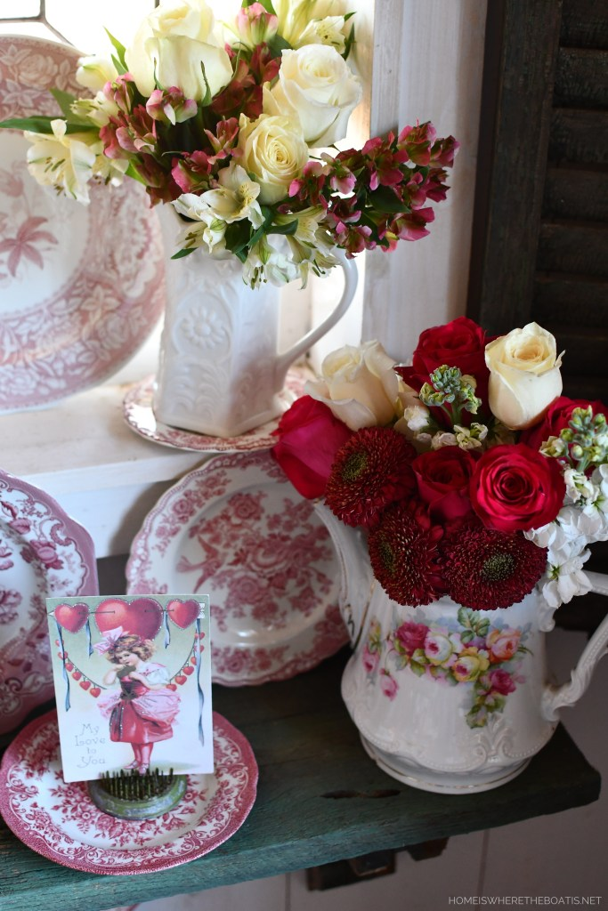 Dishing Up Flowers and Blooming Vignette for Valentine's Day | ©homeiswheretheboatis.net #valentinesday #flowers