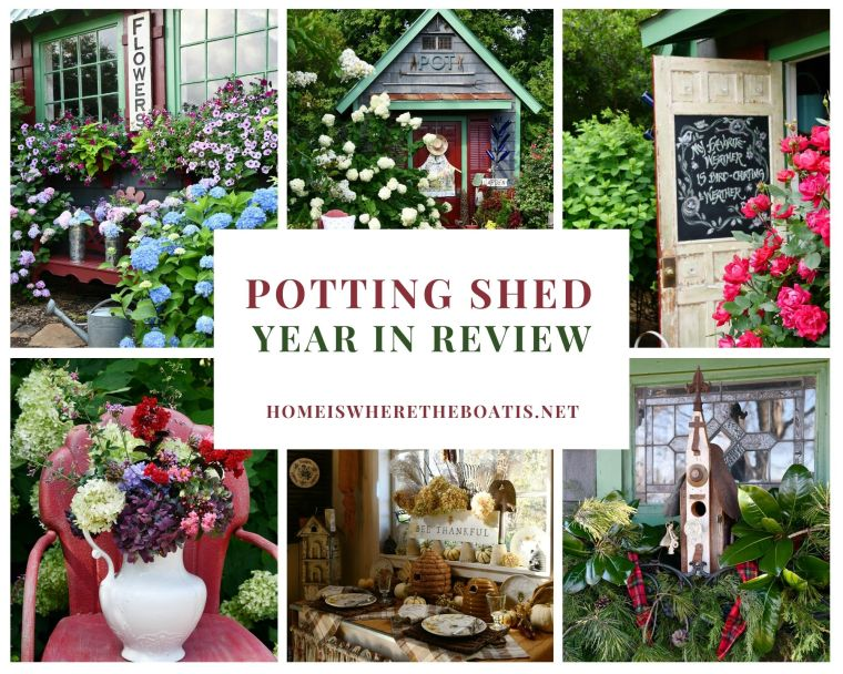 Potting Shed Year in Review | ©homeiswheretheboatis.net #flowers #garden #shed