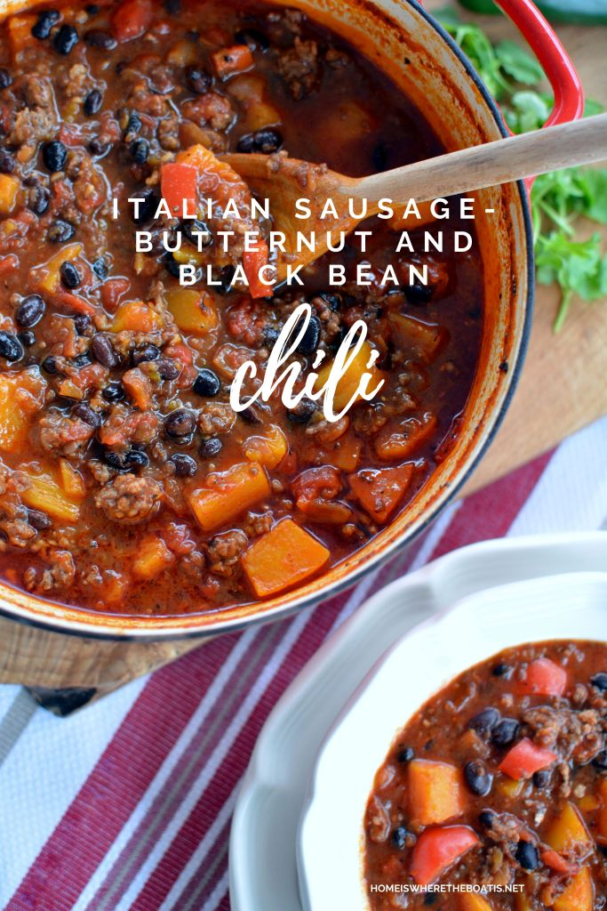 Sausage, Butternut and Black Bean Chili | ©homeiswheretheboatis.net #recipes #chili #butternutsquash